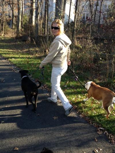 K9sOverCoffee.com | Walking Bulldog Ada and Boxer mix Missy