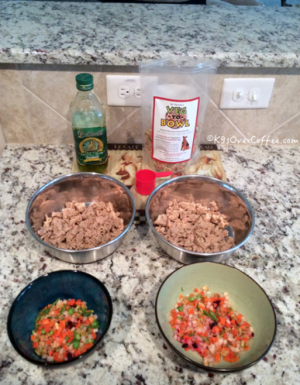 K9sOverCoffee | Preparing Veg-to-bowl with ground turkey and olive oil