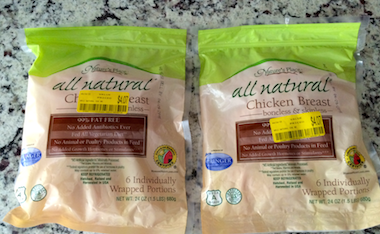 individually wrapped all natural chicken breasts, price reduced