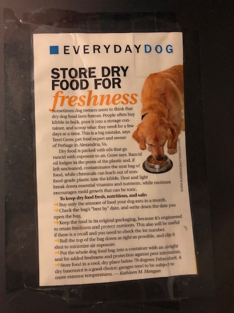 K9sOverCoffee | I taped an article on storing dry dog food to my airtight storage container