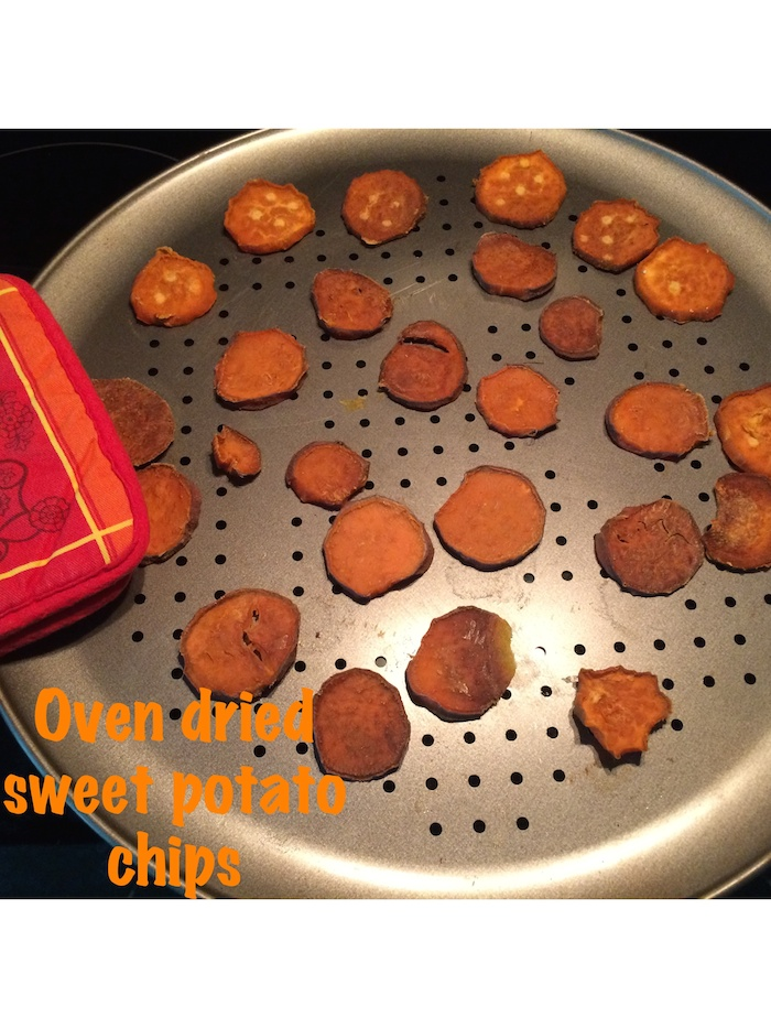 Oven dried sweet potato chips for dogs