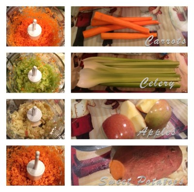 Puréeing Carrots, Celery, Apples, and Sweet Potatoes for a dog food topper