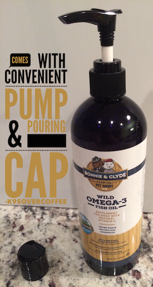 Bonnie & Clyde's Wild Omega-3 Fish Oil comes with convenient pump and pouring cap