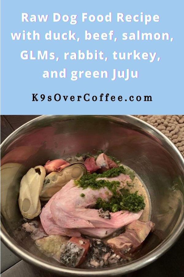 Raw dog food recipe with duck, beef, salmon, GLMs, rabbit, turkey, and green JuJu