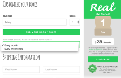 Customizing Our Real Pet Food Subscription Box Order