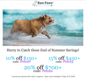 Promotional Deal From Raw Paws Pet Food