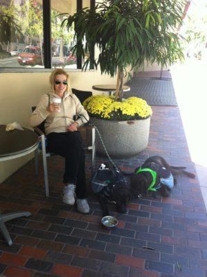 Coffee Break During Urban Dog Walk