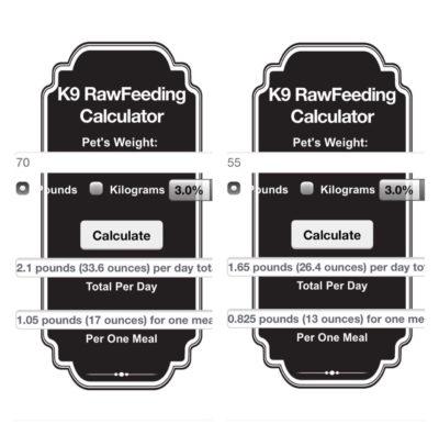 K9 Raw Feeding Calculator For A 70 and 55 lb Adult Dog