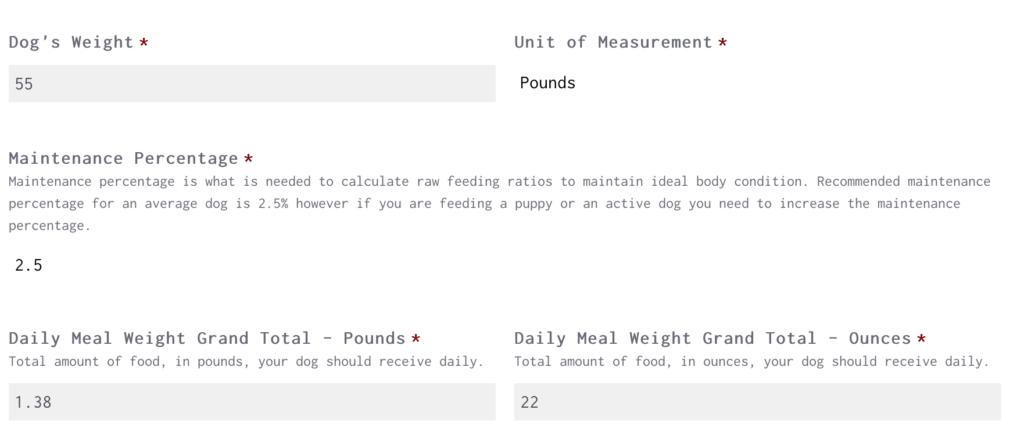 Raw Feeding Miami Calculator For A 55 lb Adult Dog
