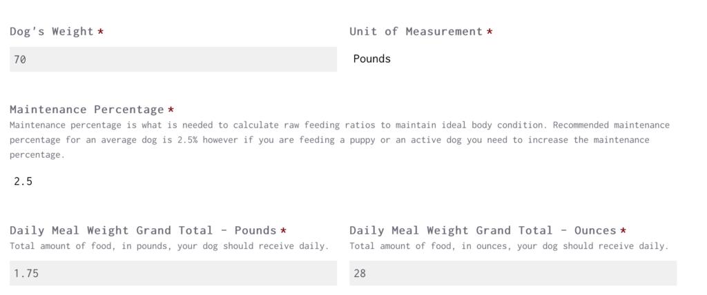 Raw Feeding Miami Calculator For A 70 lb Adult Dog