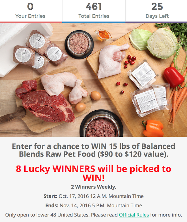 K9sOverCoffee | Enter The Balanced Blends Sweepstakes For A Chance To Win 15 lbs of Raw Food For Your Dog Or Cat