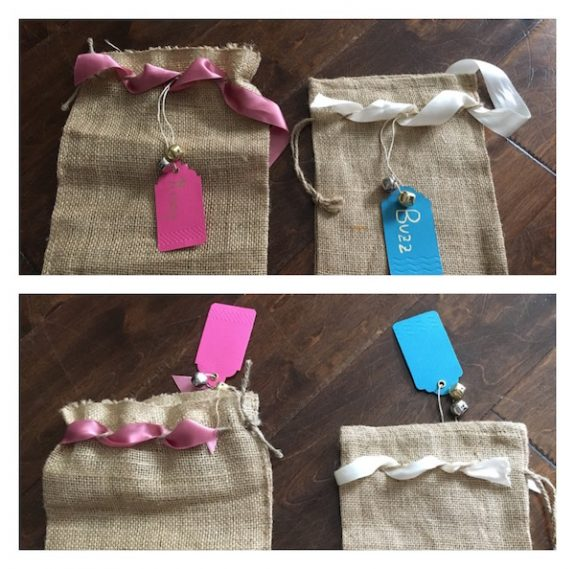 K9sOverCoffee | How To DIY A Burlap Christmas Stocking For Your Dog - Feeding Satin Ribbon Through Jute Twine