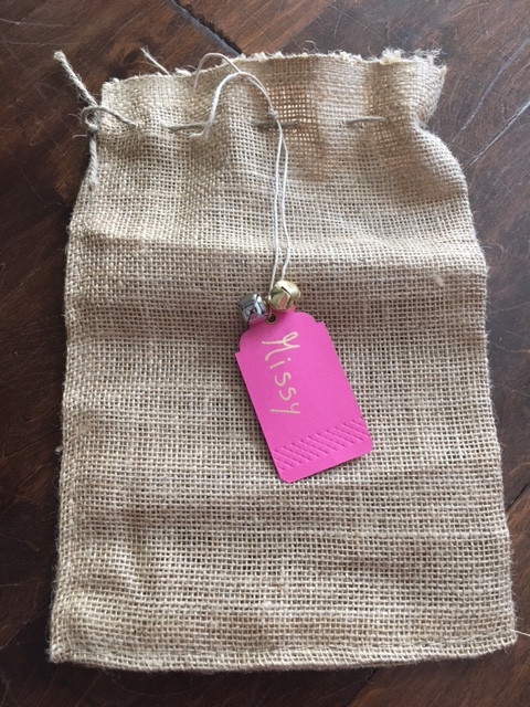 K9sOverCoffee | How To DIY A Burlap Christmas Stocking For Your Dog - Attaching The Gift Tag To The Burlap Bag
