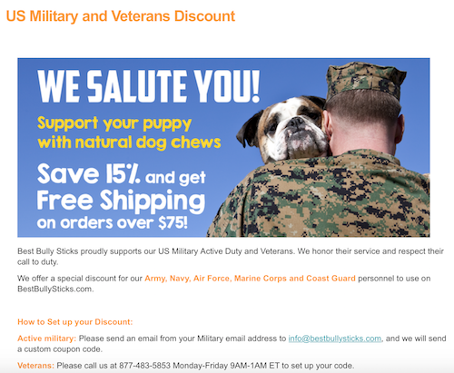 K9sOverCoffee | Best Bully Sticks Offers Military Discount