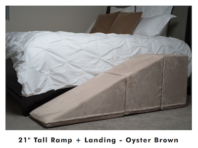 K9sOverCoffee | Gentle Climbing With Indoor Dog Ramp & Stairs - Ramp In Oyster Brown