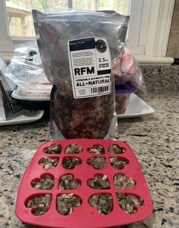 K9sOverCoffee.com   Preparing bison green tripe dog treats