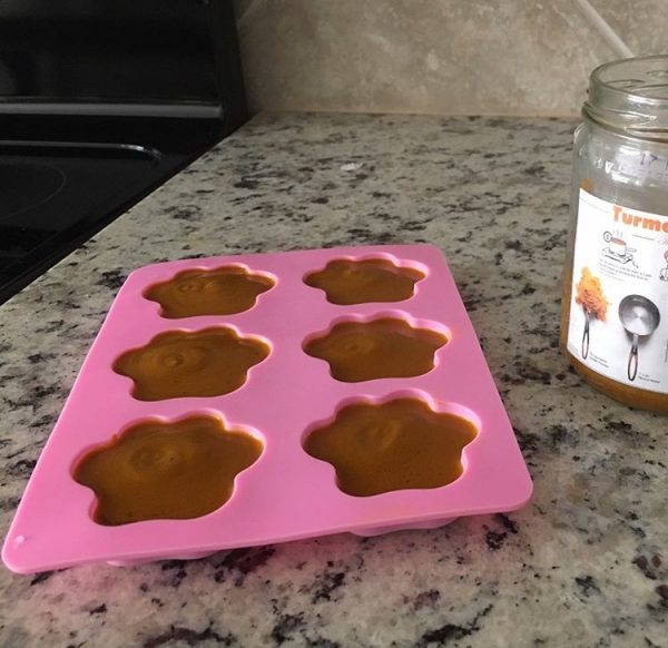 K9sOverCoffee | Paw Print Mold Filled With Homemade Golden Paste