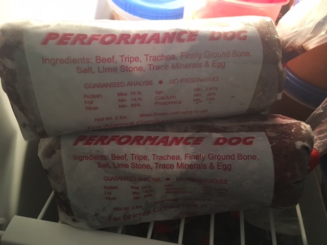K9sOverCoffee | Frozen 2 lb tubes of TEFCO Performance Raw Dog Food