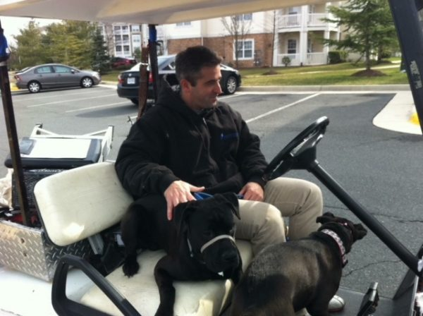 K9sOverCoffee | Missy & Buzz Socializing With One Of The Maintentance Guys At Our Apartment Complex