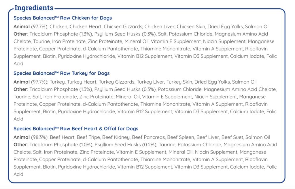 K9sOverCoffee   Balanced Blends - Species Balanced Raw Ingredients