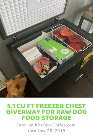 K9sOverCoffee.com | 5.1 cu ft Freezer Chest Giveaway for Raw Dog Food Storage