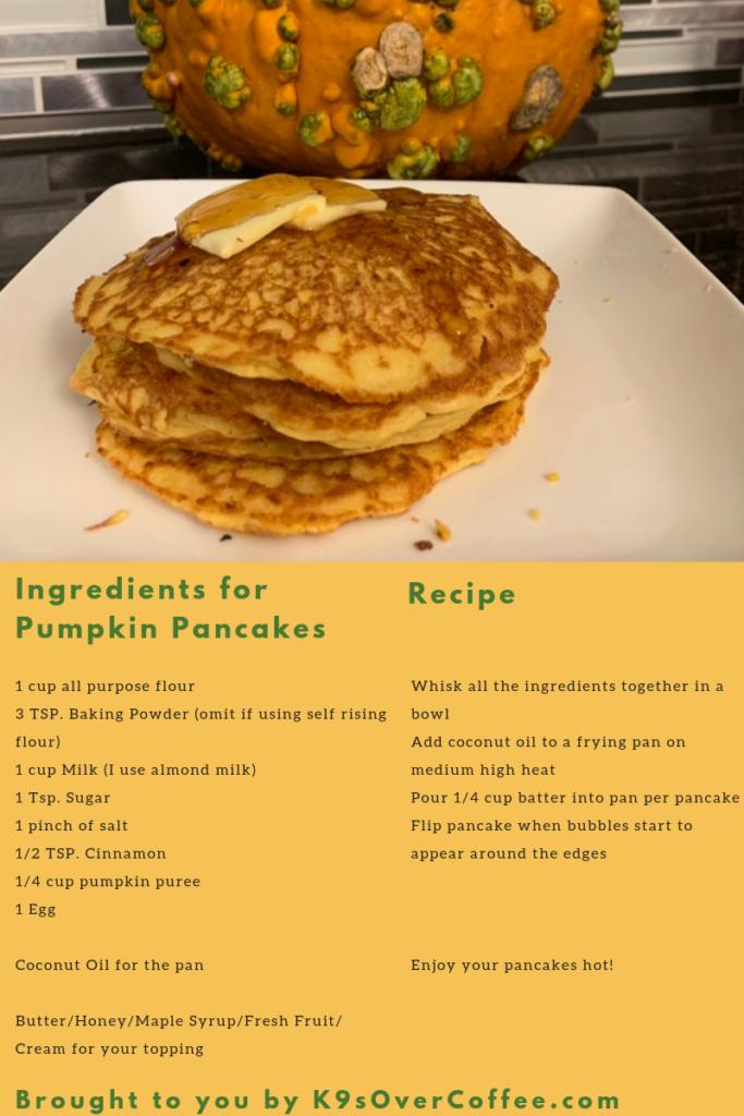 K9sOverCoffee   Recipe for pumpkin pancakes