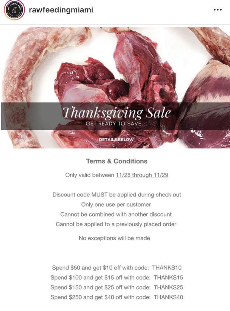 K9sOverCoffee.com | Raw Feeding Miami's Thanksgiving Day Sale 2019