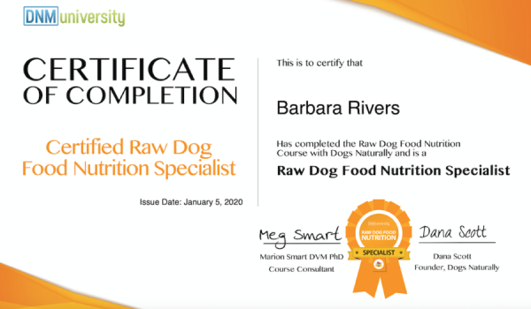 Certified Raw Dog Food Nutrition Specialist Certificate of Completion