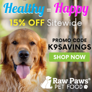 K9sOverCoffee   15% discount code for Raw Paws Pet Food