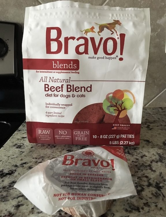 What's the cost of raw dog food? Bravo beef blend