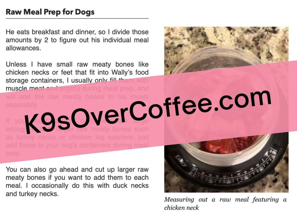"K9sOverCoffee.com | Sample page from my ebook ""Raw Meal Prep For Dogs: The Ultimate Guide for Beginners"""