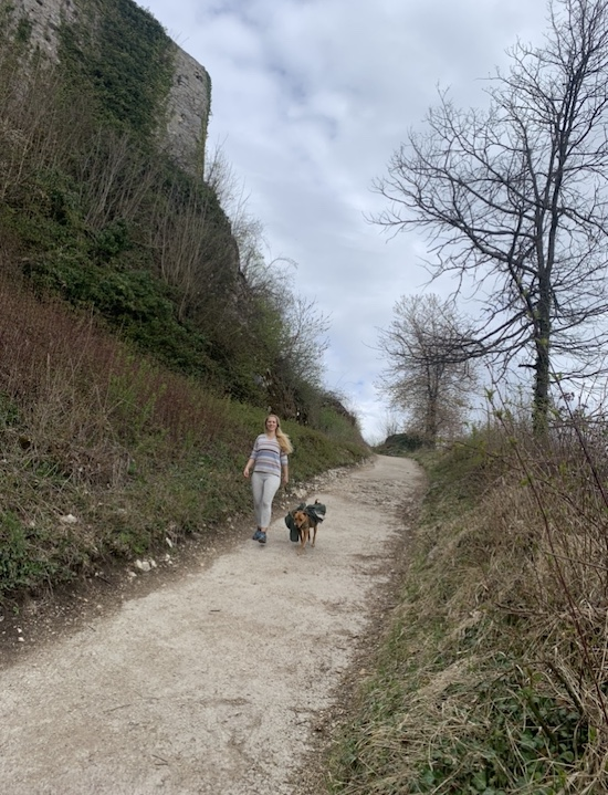 K9sOverCoffee.com | Dog-friendly hikes in Germany: Walking back down the mountain from Fortress Hohenurach