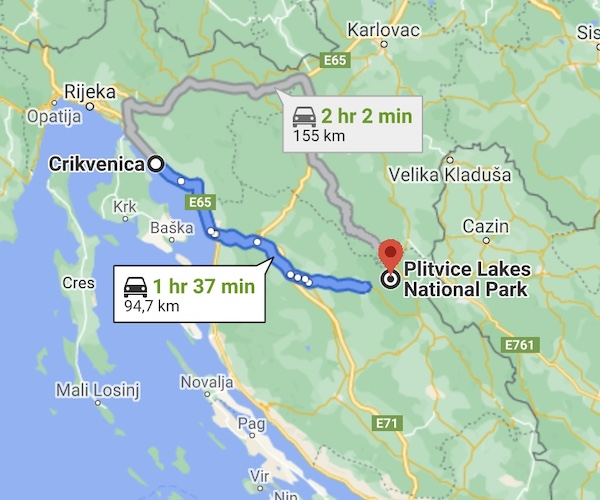 K9sOverCoffee.com | Mapping out our drive from Crikvenica to Plitvice Lakes National Park in Croatia